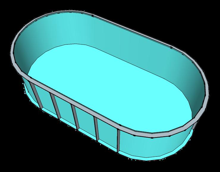 Чаша овал для бассейна на 12 м3
