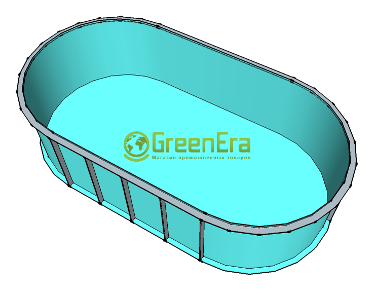Чаша овал для бассейна на 15 м3 Глубина-1,5м