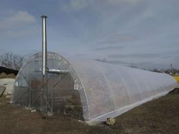 Теплица Урожай 6х70 под пленку двухслойная с автоматическим наддувом