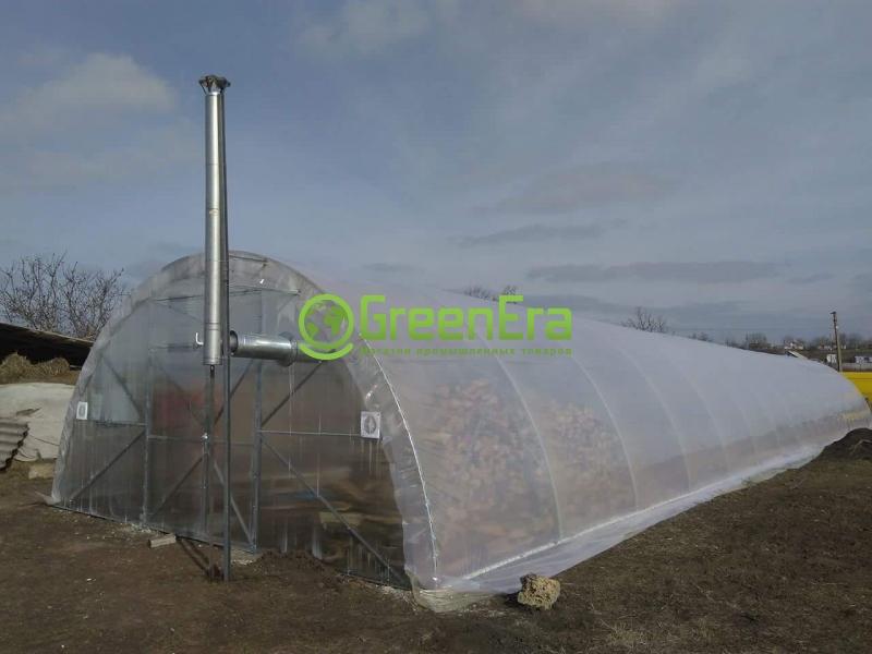 Теплица Урожай 6х30 под пленку двухслойная с автоматическим наддувом теплица