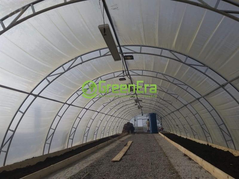 Теплица Урожай 6х60 под пленку двухслойная с автоматическим наддувом