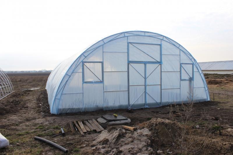 Теплица Фермер 8х50 под пленку Двухслойная с автоматическим наддувом