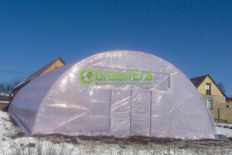 Теплица Фермер 8х80 под пленку двухслойная с автоматическим наддувом